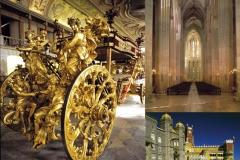 Composição de imagens com Museu Nacional dos Coches, Mosteiro de Alcobaça e Palácio Nacional da Pena