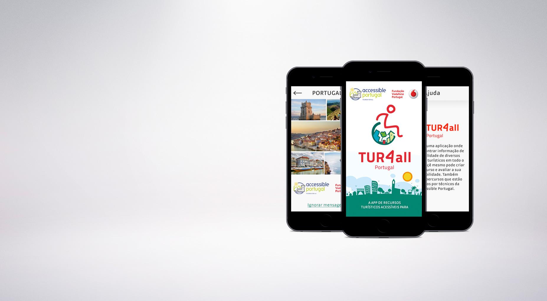 Composição 3 telemóveis com a aplicação móvel Tur4all