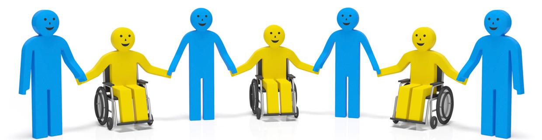 ilustração de pessoas, algumas em cadeira de rodas