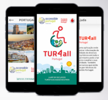 3 ecrãs de smartphone com vistas da aplicação móvel TUR4all Portugal